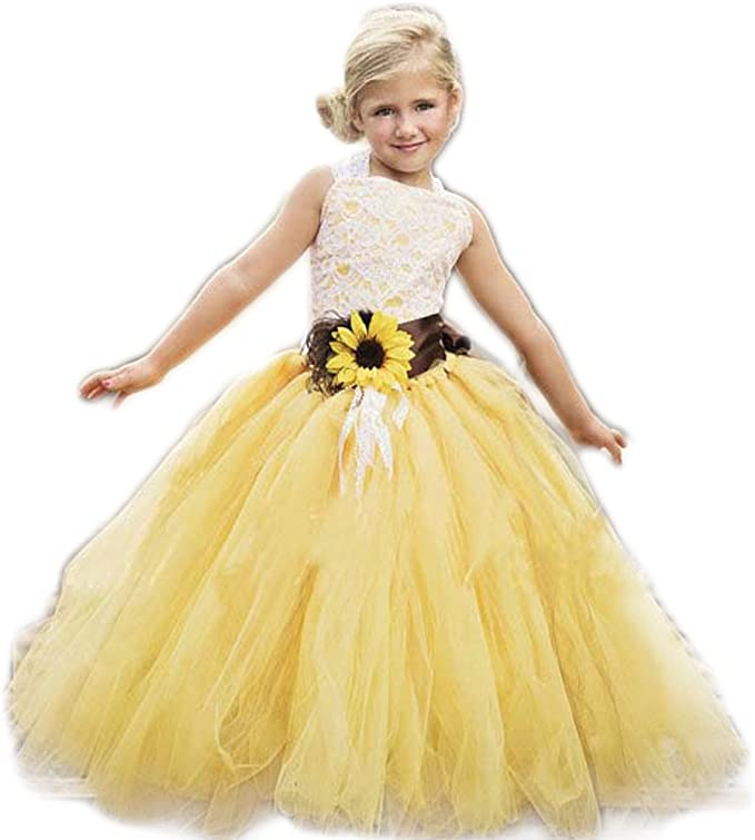 Amazon Com Annalin Yellow Tulle With Sunflower Belt Flower Girl Dress For Wedding Party Kids Prom Dress Clothing,Fitted Satin And Lace Wedding Dress
