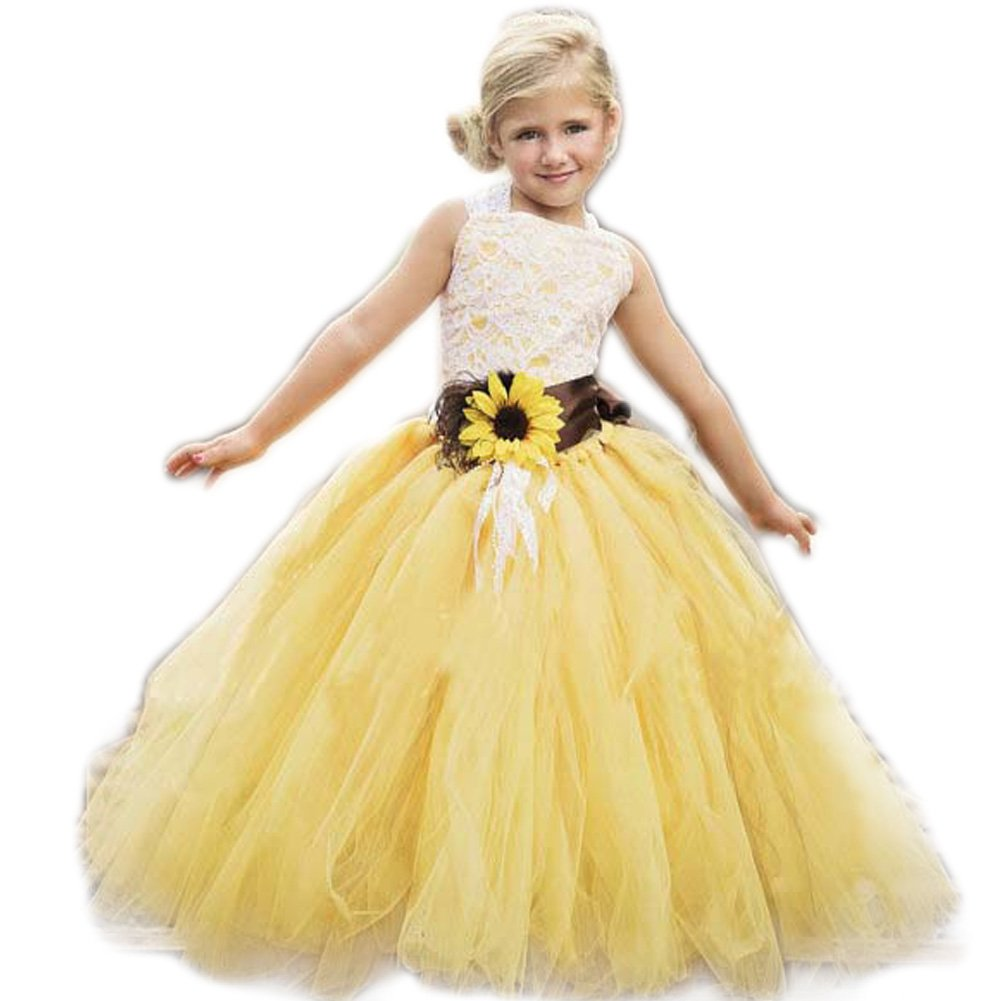 Amazon.com: AnnaLin Yellow Tulle with Sunflower Belt Flower Girl ...