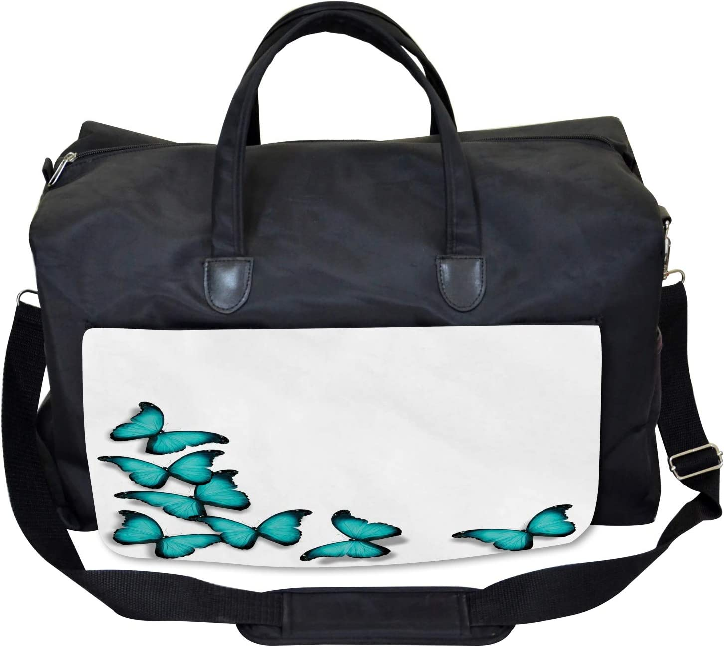 Large Weekender Carry-on Sunny Butterflies Morphs Ambesonne Spring Gym Bag