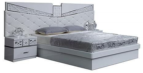 Comforium letto adulti design con testa di letto aspetto pelle