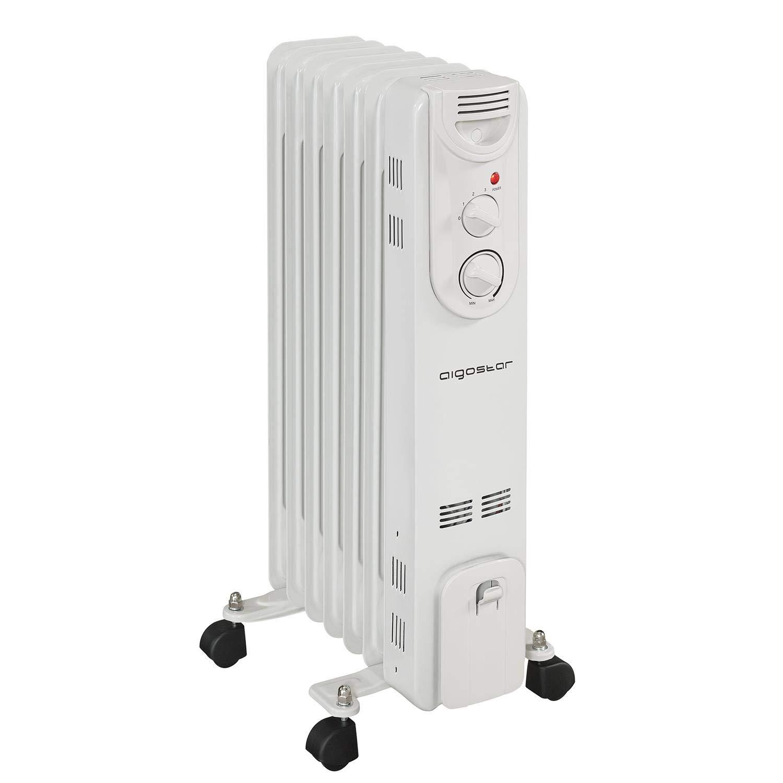 Aigostar Hotwin 33ICZ – Radiateur à bain d'huile portable. 7 éléments, 1500 W. 3 niveaux de puissance et thermostat réglable. Design exclusif.