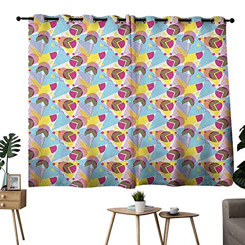 bybyhome Pastel Grommets Fashion Darkening Curtains Geometric Elements