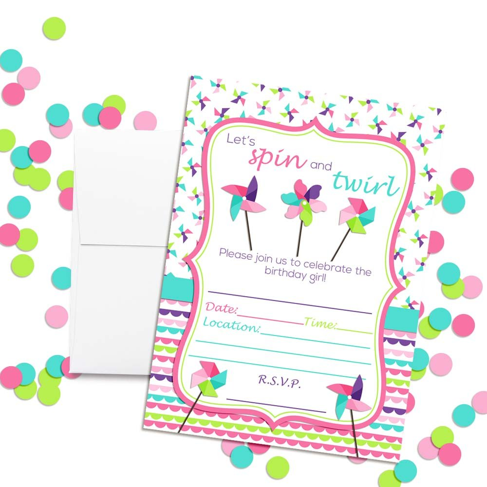 Pinwheel Spin and Twirl Themed Birthday Party Invitations 20 5x7 Fill in Cards with Twenty White Envelopes by AmandaCreation 20 5x7 Fill in Cards with Twenty White Envelopes by AmandaCreation Amanda Creation
