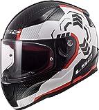 LS2 NC Casco per Moto, Hombre, Blanco/Negro/Rojo, M