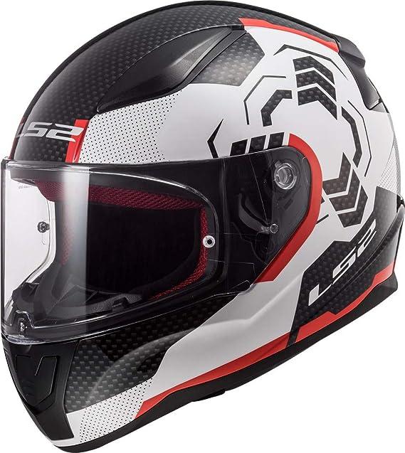LS2 Casco Moto ff353 Rapid Ghost Blanco Negro Rojo, Color blanco/negro/rojo, XL