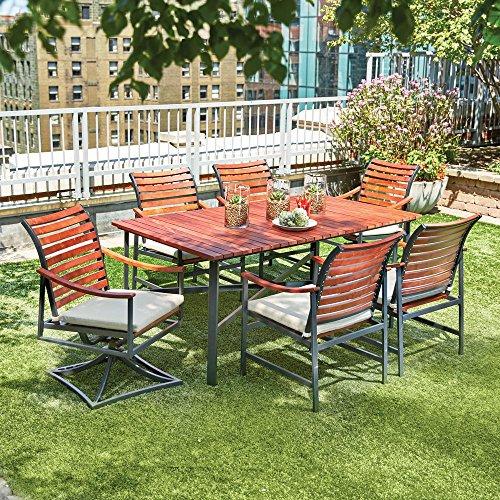 Hampton Bay Plaza Mayor 7-Piece Rectangular Wood Outdoor Dining Set with Cream Cushions (7 Dining Patio Piece Hampton Bay Set)