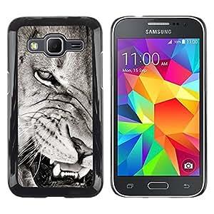 Paccase / SLIM PC / Aliminium Casa Carcasa Funda Case Cover para - Angry Lion Teeth Black White Nose - Samsung Galaxy Core Prime SM-G360