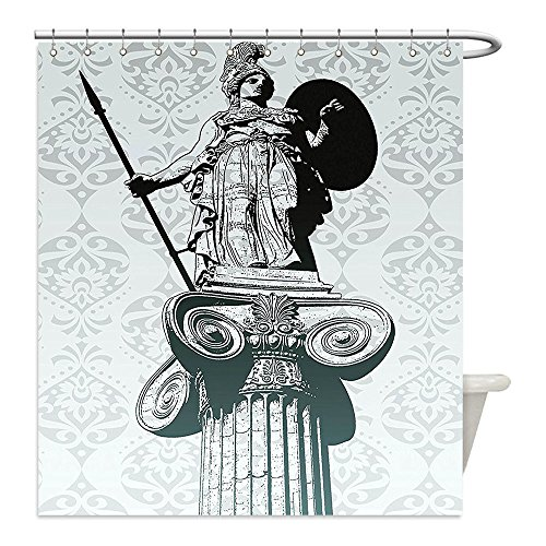 Liguo88 Custom Waterproof Bathroom Shower Curtain Polyester Sculptures Decor Collection Statue of Athena on Pillar Baroque Background Ancient Greek Mythology Hellenistic Monument Black Decorative ba - Greek Warrior Costume Pattern