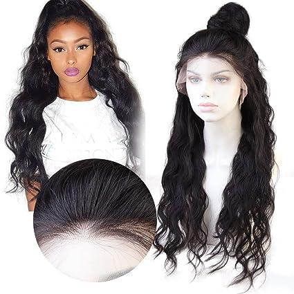 LUCAS Pelucas de Cabello Virgen Brasileño Lace Front Ondulado Body Wave Pelo Humano con Baby Hair