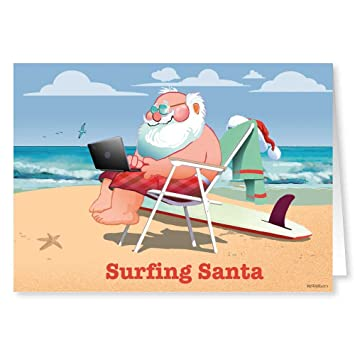 surfing santa funny beach christmas card 18 cards 19 envelopes - Beach Christmas Cards