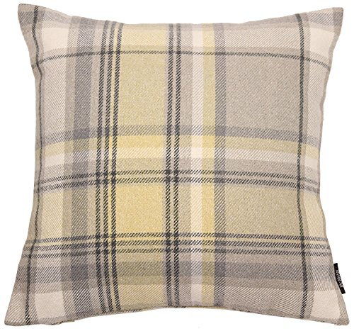 Cheap McAlister Heritage Large 28 Inch Plush Plaid Farmhouse Pillow Cover Euro Sham | Wool Striped Tartan Check | Yellow Gray 28×28 Decorative Floor Cushion Case | Country Cabin Accent Rustic Decor