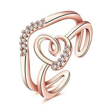 runsmooth anillos para las mujeres doble Irregular líneas corazón ...