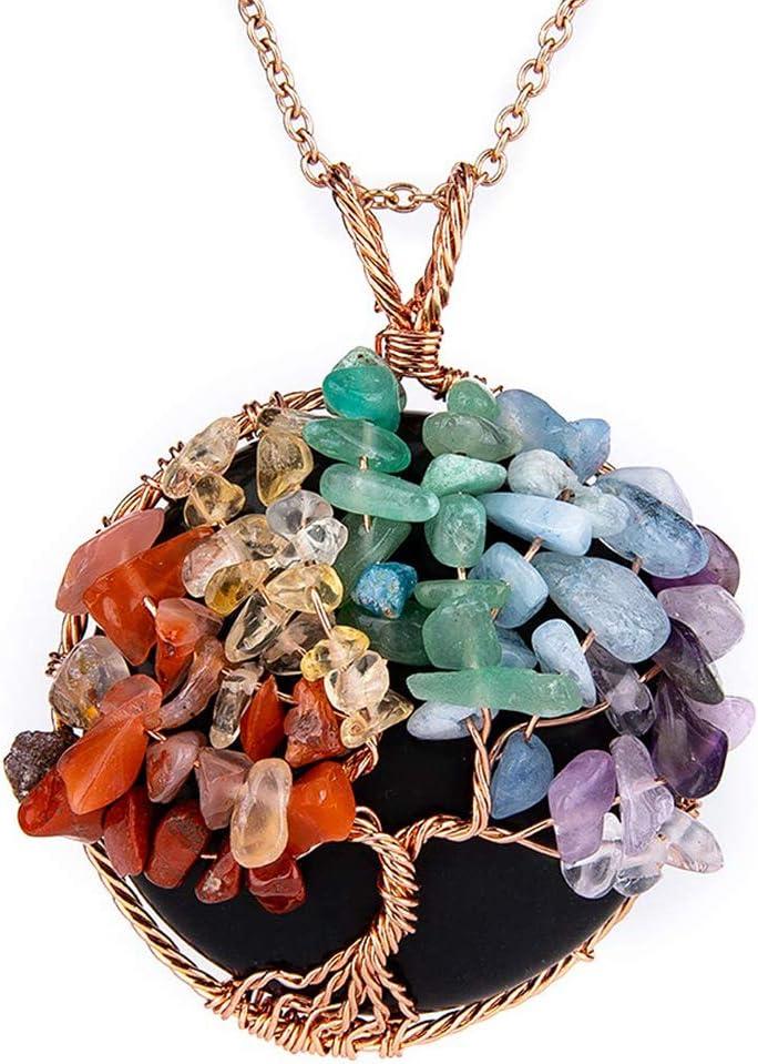 NICEWL Collar de Árbol de La Vida de Chakra de Amatistas,Envoltura de Alambre de Piedras Preciosas Naturales,Gargantilla con Colgante Redondo de Cristal Curativo para Mujer,B