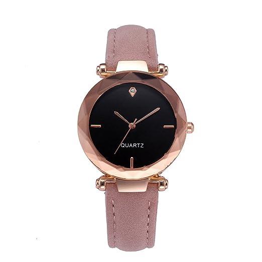 Gusspower Mujeres Retro Sencillo diseño Cuero Banda Reloj aleación de Cuarzo Reloj de Pulsera (Rosa