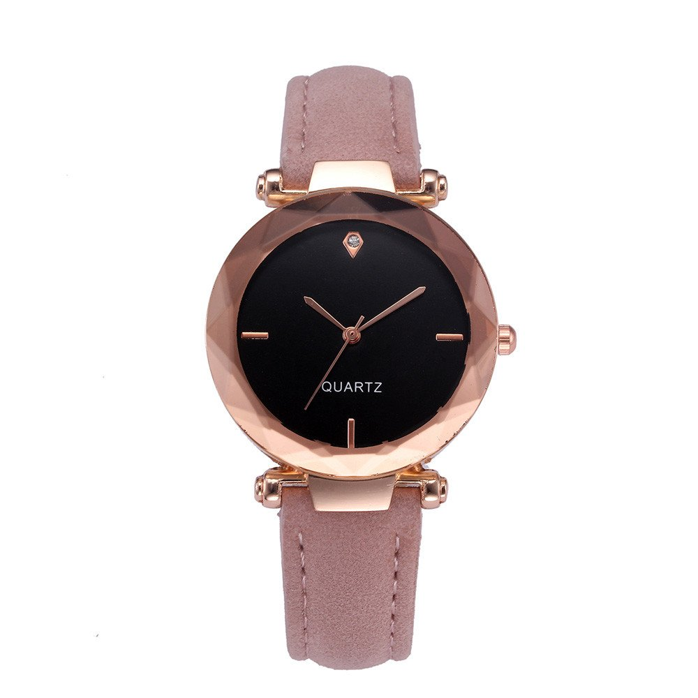 vmree Woman Luxury Leather Strap Crystal Wrist Watch Rounded Quartz Dress Watch Ideal Gift (Pink)