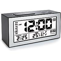 VADIV Réveil Digital Alarme Horloge Numérique Répétition Sommeil LCD Affichage Rétro-Éclairage avec Date Température