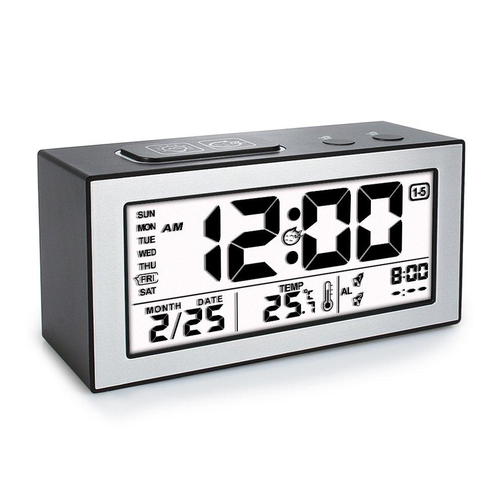 Sveglia Orologio Digitale Termometro Precisione con LCD Display per Data e Temperatura 2 Sveglia a Tempo Separato - Nero Tsumbay