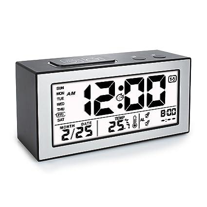 Despertador digital, despertador reloj, alarma digital de gran pantalla LCD con temperatura, fecha, doble alarma, día de la semana, iluminación ...