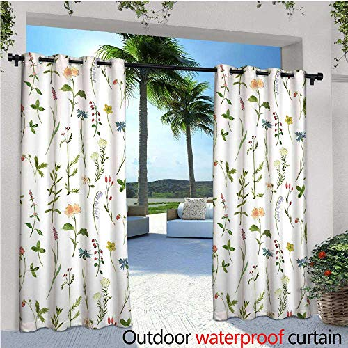 cobeDecor Floral Outdoor Blackout Curtains Spring Season Themed Watercolors Painting of Herbs Flowers Botanical Garden Artwork Outdoor Privacy Porch Curtains W108 x L108 Multicolor