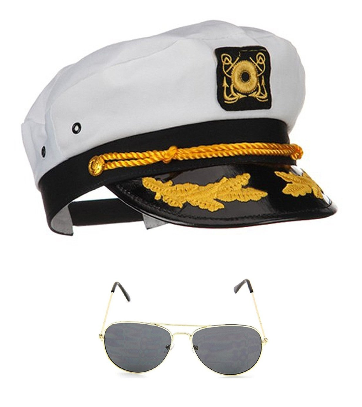 Yacht Boat Captain Hat Sailor Ship Cap White Gold and Gold Aviator Sunglasses by Nicky Bigs Novelties (Image #2)