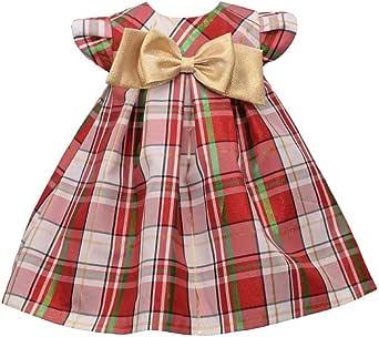 Bonnie Jean Baby Girl's Tartan Plaid Holiday Christmas Dress with Gold Bow