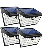 4 Luci Solari Esterne,Lampade Solari Giardino 28 led,300 LM Illuminazione Giardino Solare con Sensore di Movimento,Illuminazione a Tre Lati, Cavo USB,per Angolo,Parete,Cortile,Casa ecc