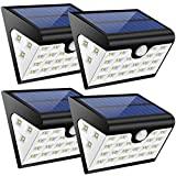 28LED Solar Security Lights Garden,300Lumens Solar Motion Sensor Lamps 3 Mode Outdoor Wall Lighting 3 Side Illumination IP65 Waterproof USB Wireless Step Lights for Driveway Patio Yard(Black, 4 packs)