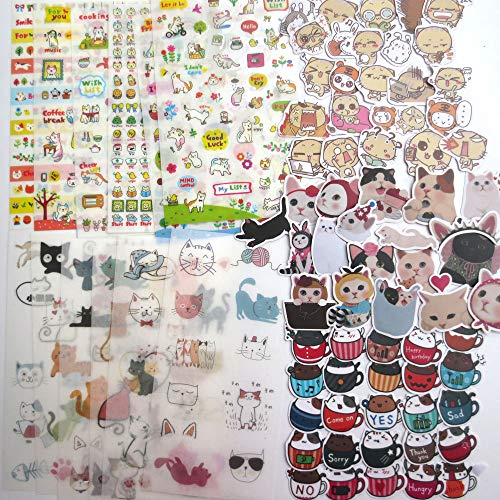 (DzdzCrafts Kawaii Cat Animal Sticker Sheets and Stickers Set for Scrapbooking Dairy Planner)