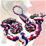 Cheap Otterly Pets Dog Toys (Big Size 3-Pack) – 34-Inch 3-Knot, 13.5-Inch Handled Rope with Attached Ball, 4-Inch Ball – Tough Durable (Not Indestructible) Ropes Toy Set for Medium to Large Dogs