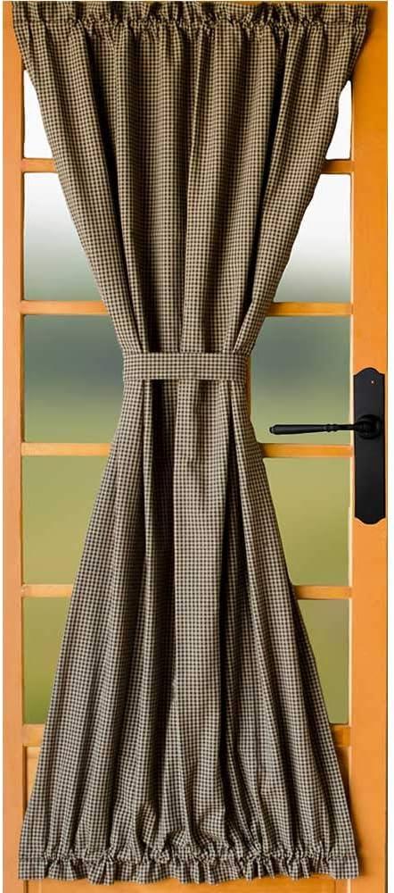 Newbury Gingham Black Lined French Door Panel by Raghu