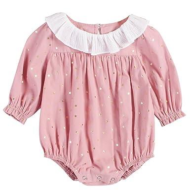 edeac2037e915 GEMVIE Ensemble 2 Pièces Barboteuse + Bandeau Bébé Fille Combinaison  Vêtement à Manches Longues Mignon Été