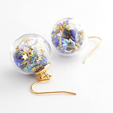 【gargle/ガーグル】 glass planet 【ピアス】 星 ドーム 青 宇宙 球体 アクセサリー
