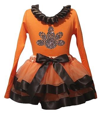 Petitebelle Bling Turquía naranja L/S Shirt marrón falda de ...