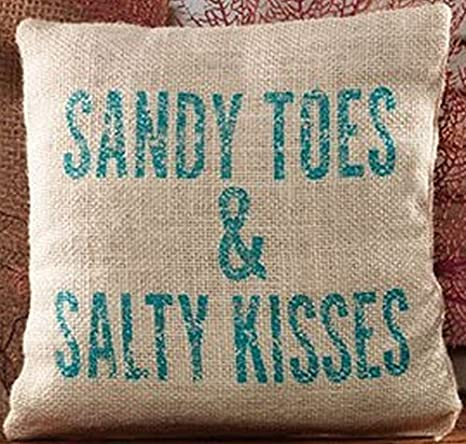 UOOPOO Sandy Toes & Salty Kisses Cotton Linen Accent Pillow 8 x 8 Inches