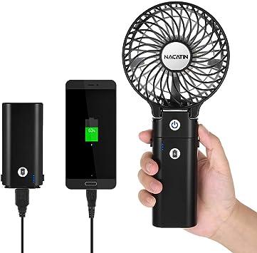 NACATIN Mini Ventilador de Mano con función Power Bank de ...