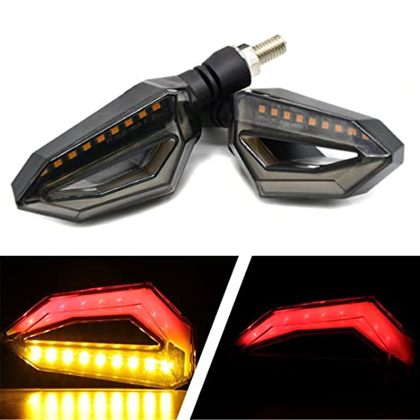FEZZ Intermitentes Moto LED Lámparas Luces de Dirección Señales Ámbar Luz de Freno Marcha Diurna Rojo