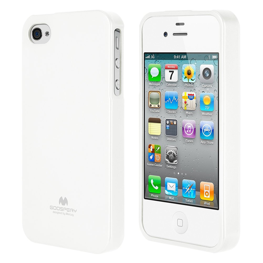 new product 77ceb 10d77 GOOSPERY Marlang Marlang iPhone 4/4S Case - White, Free Screen Protector  [Slim Fit] TPU Case [Flexible] Pearl Jelly [Protection] Bumper Cover for ...