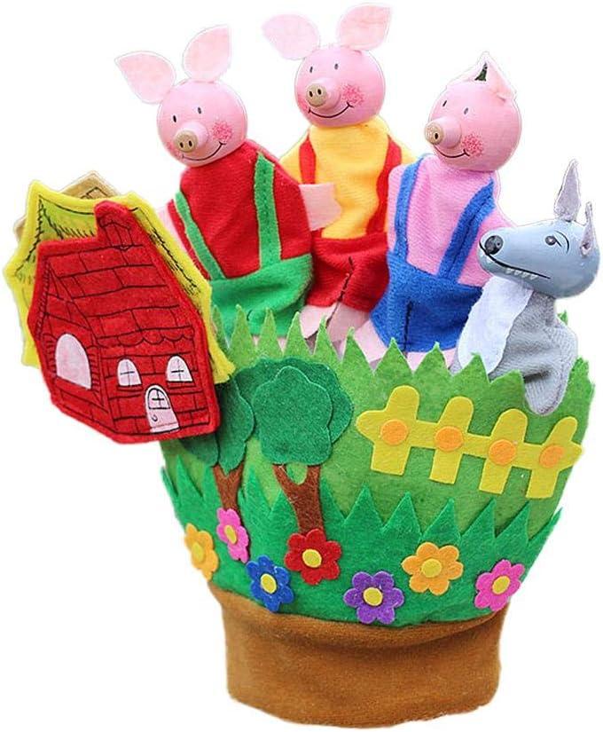 guantes de cinco dedos Nuevo juguete de educación temprana entre padres e hijos guantes de cinco dedos bosque animal cuento de hadas rey príncipe princesa marioneta Muñeco de peluche