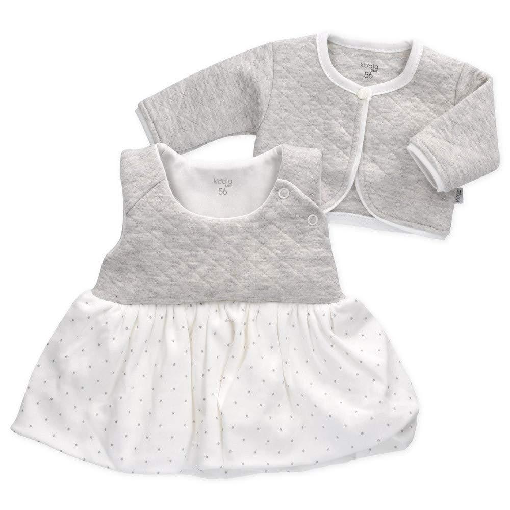 Gr/ö/ße: 0-3 Monate Motiv: Punkte Babyset 2 Teile f/ür Neugeborene /& Kleinkinder Koala Baby Set KLeid Jacke M/ädchen wei/ß grau 62