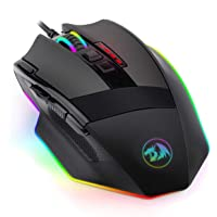 Redragon M801 PC Gaming Mouse LED RGB Backlit MMO 9 Programmable Buttons Mouse with Macro Recording Side Buttons Rapid Fire Button for Windows Computer Gamer (Wired, Black)