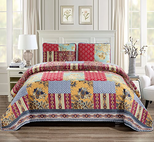 (Linen Plus Full/Queen 3pc Quilted Bedspread Set Oversized Coverlet Floral Patchwork Navy Blue Red Burgundy Taupe)