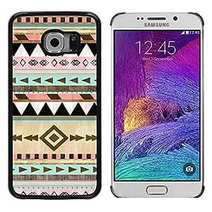 Patrón de nativos americanos de Navidad de invierno- Metal de aluminio y de plástico duro Caja del teléfono - Negro - Samsung Galaxy S6 EDGE (NOT S6)
