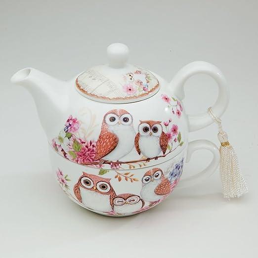 /Tea for one dise/ño de b/úhos/ /Tetera y taza Juego de puntas y piezas/
