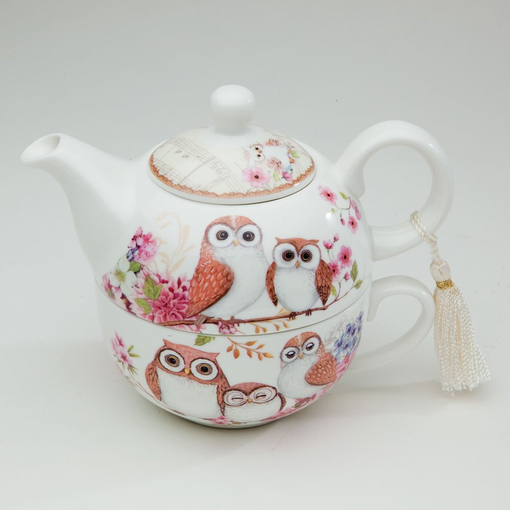 Bits and Pieces - Tea For One Owls Porcelain Teapot and Cup - Adorable Owl Design by Bits and Pieces (Image #5)