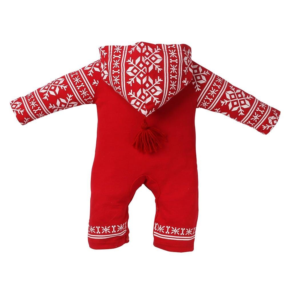 0b62f6c2562 Yourig Christmas Kids Baby Romper Long Sleeve Red Snowflake Print Hooded  Jumpsuit  Amazon.in  Clothing   Accessories