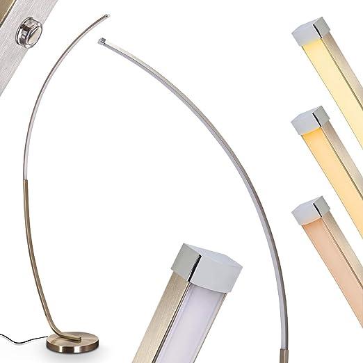 Lámpara de pie LED Antares de metal en níquel mate, con ...