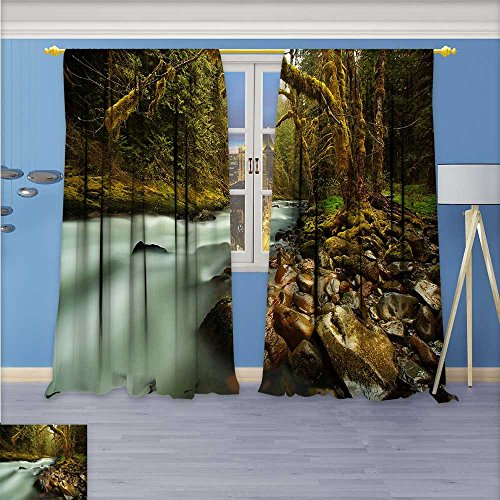 Flower Design Foil Printed Grommet Thermal Insulated Window Panels The sound of rushing water shattered the silence of the bushes For Kidsroom, 120W x 108L Inch
