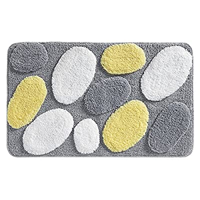"""iDesign Pebblz Microfiber Polyester Bath Mat, Non-Slip Shower Accent Rug for Master, Guest, and Kids' Bathroom, Entryway, 34"""" x 21"""", Yellow and Gray - HIGH QUALITY FABRIC: Made of 100% microfiber polyester, this non-slip shower rug adds modern and chic style to your master bathroom, kitchen, kids' bathroom, guest bathroom, office, craft room, and other places in your home. The fun pebble design looks great with any decor STURDY: Stays in place throughout the day with a non-skid, no-slip backing EASY MAINTENANCE: This bathroom rug is machine washable and hangs dry for easy cleaning - bathroom-linens, bathroom, bath-mats - 61QXWzsTLVL. SS400  -"""