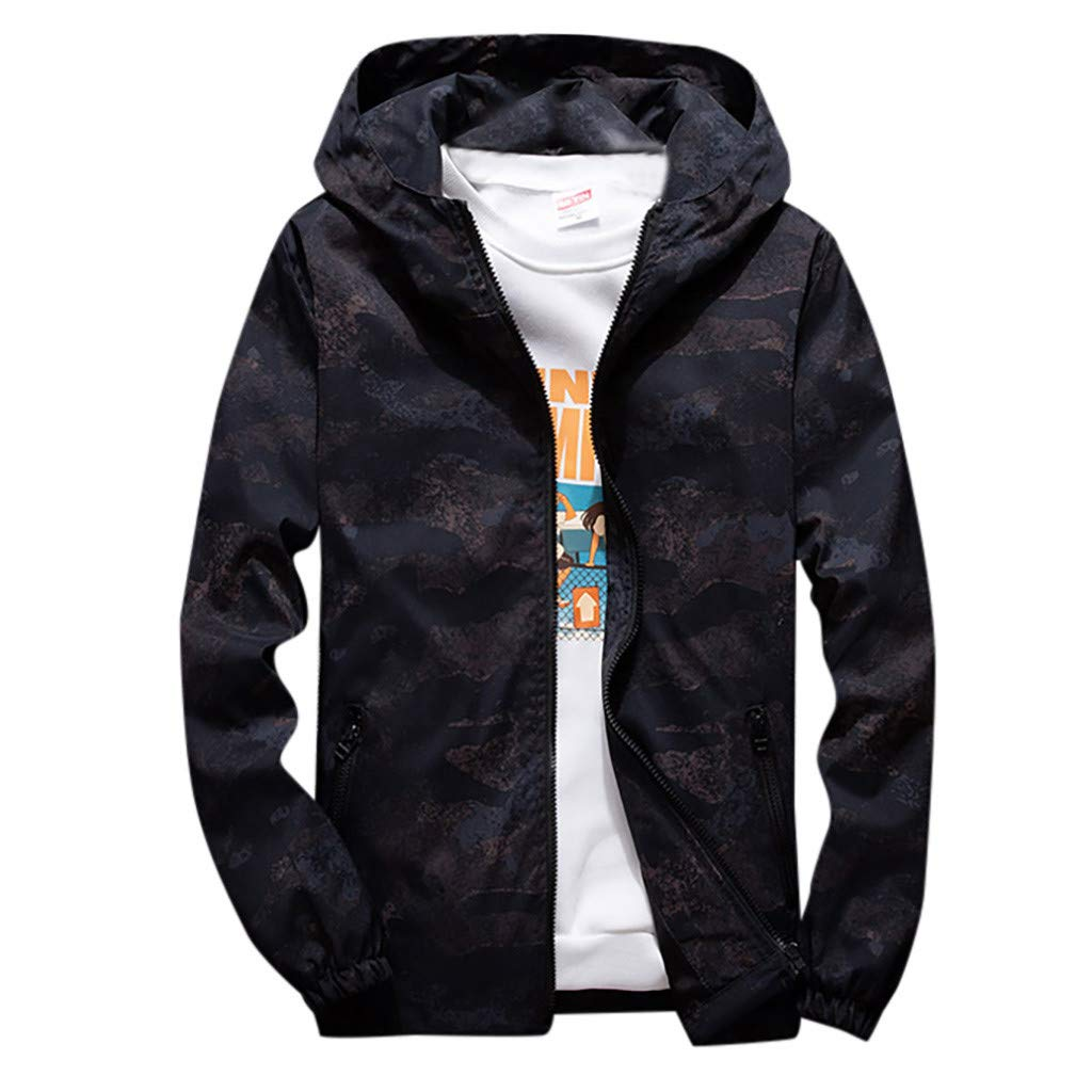Gleamfut Fashion Hoodies Mens Plus Size Camouflage Sweatshirt Long Sleeve Autumn Zipper Hooded Sport Coat by Gleamfut