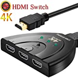 HDMI切替器/ スプリッター3入力1出力 switch/ セレクター/スイッチHDMI分配器の4K手動ハブ/電気ケーブルを持っています/3D 音声周波を支持/高精細度テレビを支持/PS4/液晶テレビ/DVD Player/Xbox /AppleTV /PCなど対応